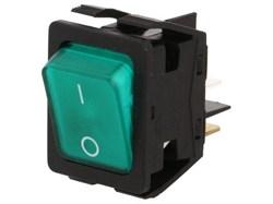 Выключат.клавишный C6053PLNAB зеленая линза, серый корпус - фото 18754