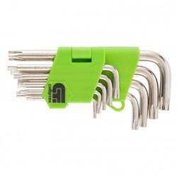 Набор ключей имбусовых Tamper-Torx, 9 шт. ТТ10-ТТ50, 45х, закаленные, никель // Сибртех - фото 19514