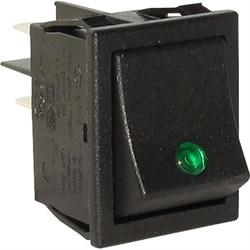 Выключатель клавишный С6053PLNAB зеленая линза, черный корпус - фото 22014