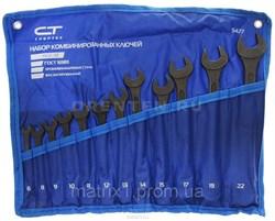 Набор ключей комбинированных, 6 - 22 мм, 12 шт., CrV, фосфатированные, ГОСТ 16983// СИБРТЕХ - фото 5400