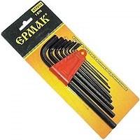 ЕРМАК Набор ключей - шестигранников 1,5-10мм,  удлененные 9шт. (014) - фото 5404