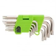 Набор ключей имбусовых Tamper-Torx, 9 шт. ТТ10-ТТ50, 45х, закаленные, никель // Сибртех