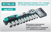 "Набор торцевых головок, 1/2"", головки 10-22 мм, с трещот. ключом, CrV, 11 предм // STELS"