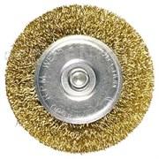 Щетка для дрели, 125 мм, плоская со шпилькой, латунированная витая проволока // MATRIX